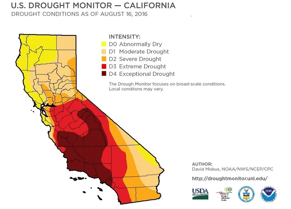 US Drought Monitor: California August 2016 David Miskus NOAA/NWS/NCEP/CPC