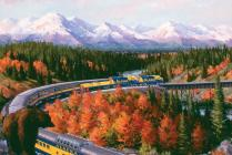 Alaska Range by Seattle artist J. Craig Thorpe. Alaska Railroad connects Anchorage and Denali.